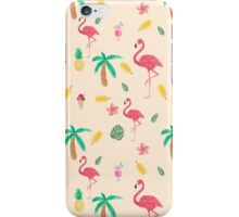 Trendy pink watercolor tropical flamingo floral iPhone Case/Skin
