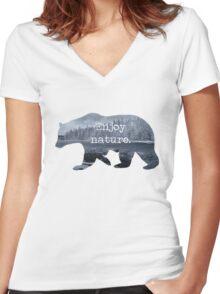 Enjoy nature.  Women's Fitted V-Neck T-Shirt