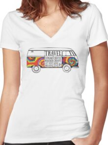 TIE DYE ADVENTURE BUS Women's Fitted V-Neck T-Shirt