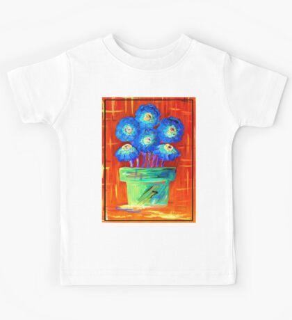 Blue Flowers on Orange Kids Tee