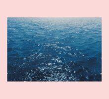 Wavy Blue Sea Water Twinkling under Summer Sun One Piece - Short Sleeve
