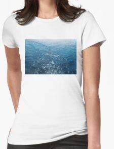 Wavy Blue Sea Water Twinkling under Summer Sun Womens Fitted T-Shirt