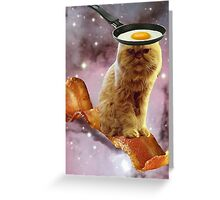 bacon egg cat Greeting Card