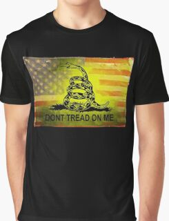 Don't Tread on Me Shirts & Sticker American Flag Background Graphic T-Shirt