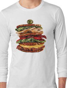 Turkey Club on Rye Sandwich Long Sleeve T-Shirt