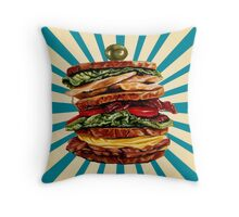 Turkey Club on Rye Sandwich Throw Pillow