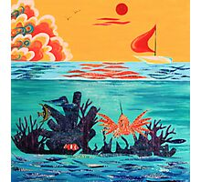 """""""OVER & UNDER"""" OCEAN COLLAGE Photographic Print"""
