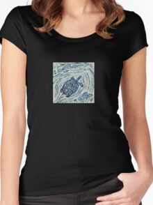 Turtle Bas Relief Blue Women's Fitted Scoop T-Shirt