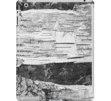 Broken Birch Bark in Cracks Texture, black & white  iPad Case/Skin