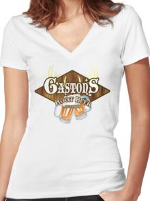Gaston's Root Beer Women's Fitted V-Neck T-Shirt