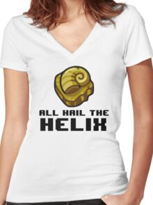 Helix Fossil Funny, Twitch Plays Pokemon All Hail The Helix  Women's Fitted V-Neck T-Shirt