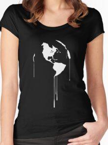 Splatter Earth 1 (white) Women's Fitted Scoop T-Shirt