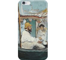 Claude Monet - Monet In His Floating Studio 1874 . Impressionism iPhone Case/Skin