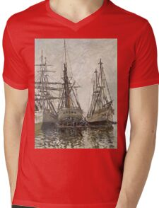 Claude Monet - Boats In A Harbour 1873. Famous Paintings. Impressionism Mens V-Neck T-Shirt