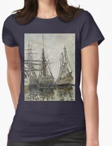 Claude Monet - Boats In A Harbour 1873. Famous Paintings. Impressionism Womens Fitted T-Shirt