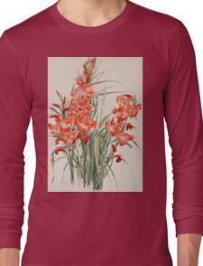 Vintage blue art - Charles Demuth - Red Gladioli Long Sleeve T-Shirt