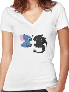 Stitch and Toothless Love Women's Fitted V-Neck T-Shirt