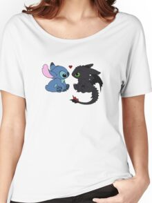 Stitch and Toothless Love Women's Relaxed Fit T-Shirt