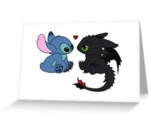 Stitch and Toothless Love Greeting Card