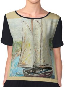 On a Cloudy Day - Impressionist View Chiffon Top