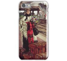 Vintage famous art - James Tissot - Waiting At The Station  iPhone Case/Skin