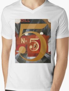 Vintage famous art - Charles Demuth - I Saw The Figure 5 In Gold Mens V-Neck T-Shirt