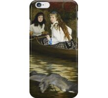 Vintage famous art - James Tissot - On The Thames, A Heron iPhone Case/Skin