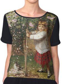 Vintage famous art - James Hayllar - The Rose Tree Chiffon Top