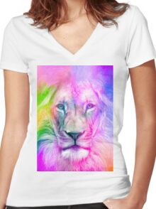 Purple Lion Women's Fitted V-Neck T-Shirt