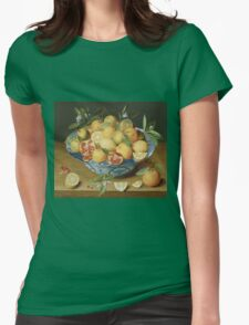 Vintage famous art - Jacob Van Hulsdonck - Still Life With Lemons, Oranges And A Pomegranate 1620 Womens Fitted T-Shirt