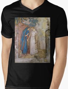 Vintage famous art - Odilon Redon - Initiation To Study - Two Young Ladies Mens V-Neck T-Shirt