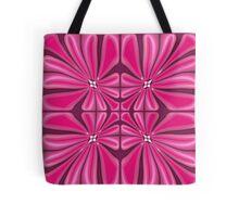 Tropical Fuscia Flower Block Print Tote Bag