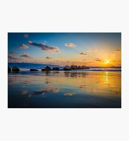 Sunset over the mediterranean sea, Haifa, Israel  Photographic Print