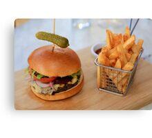 Wagyu Beef Burger with Cajun Fries Canvas Print