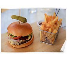 Wagyu Beef Burger with Cajun Fries Poster