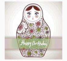 Happy birthday card matrioshka  Kids Tee