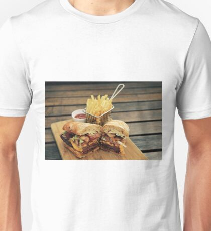 Steak Sandwich with Cajun Fries Unisex T-Shirt