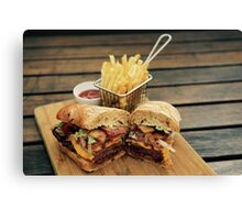 Steak Sandwich with Cajun Fries Canvas Print