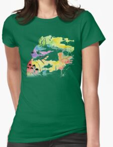rainbow painting totoro Womens Fitted T-Shirt