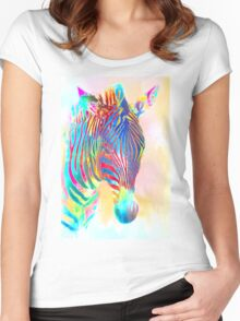 Zebra four Women's Fitted Scoop T-Shirt