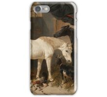 John Frederick Herring (Senior)  British Barn Interior with Two Horses, a Goat and Chickens iPhone Case/Skin