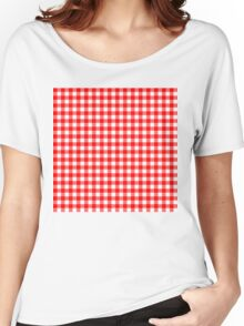 Gingham Red and White Pattern Women's Relaxed Fit T-Shirt