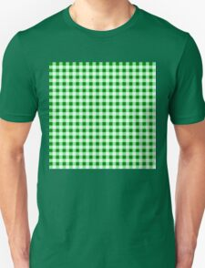 Gingham Green and White Pattern T-Shirt