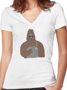 SASSY the Sasquatch | Big Lez Show | Official Women's Fitted V-Neck T-Shirt