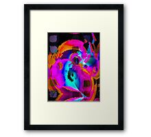 Florescent Pink Turquoise Abstract  Framed Print