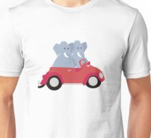Funny elephants in red beetle car Unisex T-Shirt