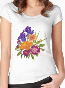Floral Graphic Design Women's Fitted Scoop T-Shirt