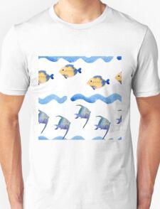 watercolor blue wave pattern, Unisex T-Shirt