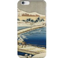 Vintage famous art - Hokusai Katsushika - Pontoon Bridge At Sano, Kozuke Province, Ancient View iPhone Case/Skin