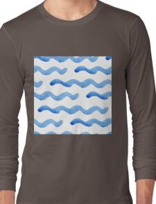 Abstract watercolor blue wave pattern, water texture sketch background. Drawing by hand illustration Long Sleeve T-Shirt